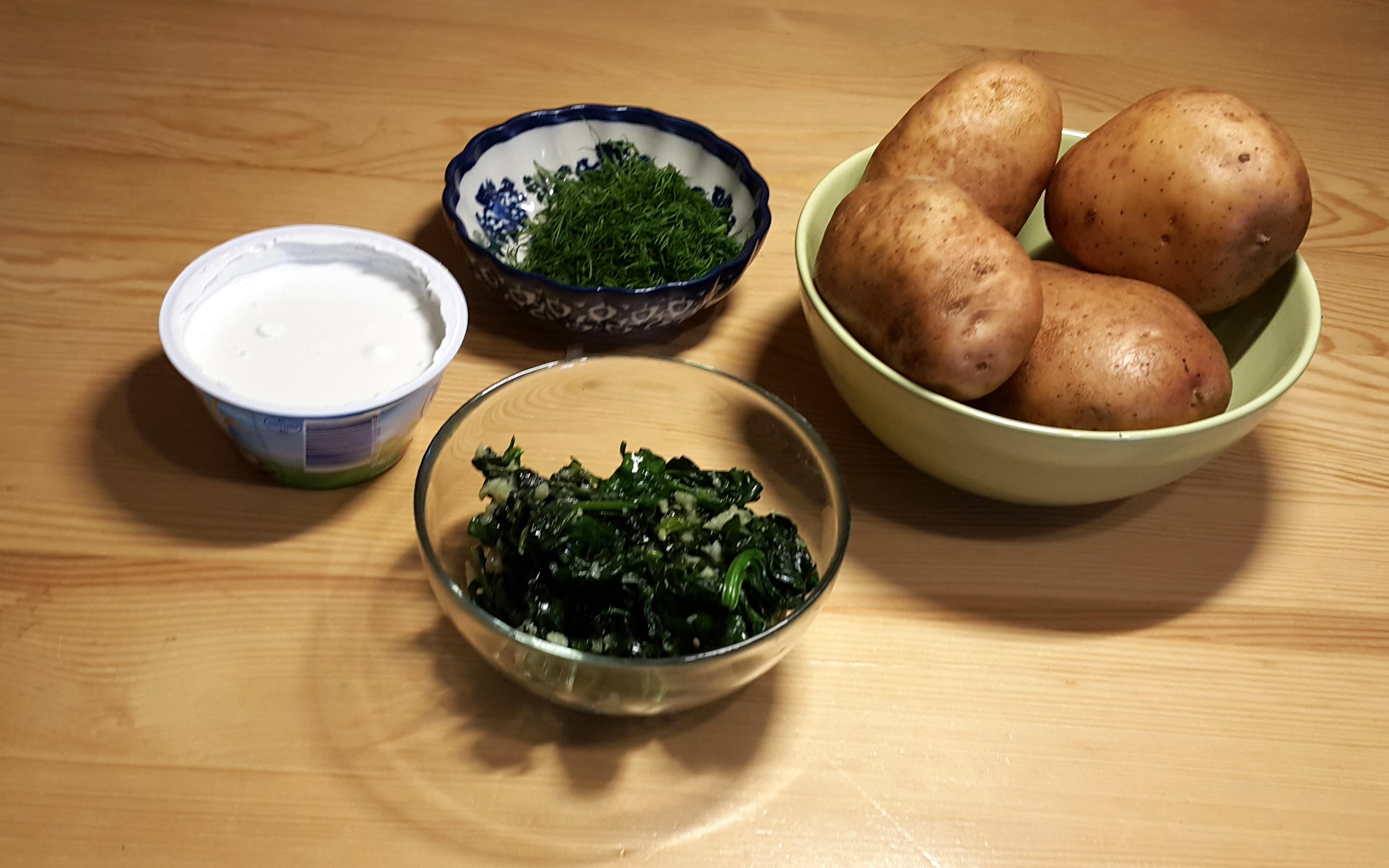ziemniaki ze szpinakiem składniki